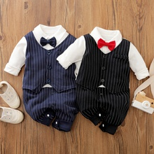 Baby Boy Gentleman Bow tie Striped Jumpsuit