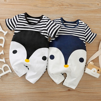 Baby Penguin Print Striped Romper