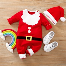 2-piece Baby Santa Christmas Jumpsuit with Hat Set