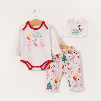 3pcs Baby Girl Long-sleeve Cotton Romper casual Animal & Pink flamingos Baby's Sets