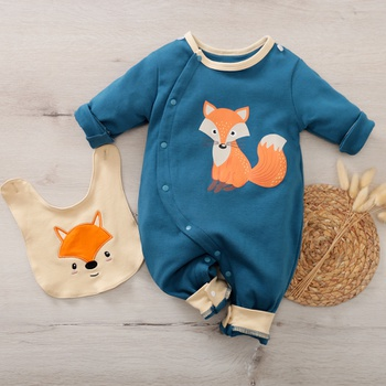2-piece Baby Animal Fox Jumpsuit and Bib Set