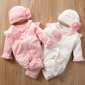 Cute Ruffle Long Sleeves Jumpsuit and Hat for Baby Girl