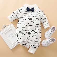Moustache Pattern Long-sleeve Bow Tie Jumpsuit for Baby Boys