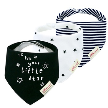 3-piece Letter Striped Stars Print Baby Cotton Cartoon Bib