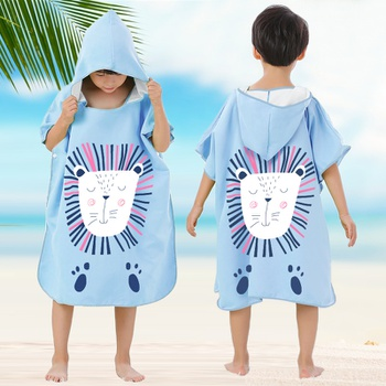 Cartoon Hooded Lion Baby Bathrobe Baby Spa Towel Children's Beach Towels Kids Bath Robe Infant Beach Towels