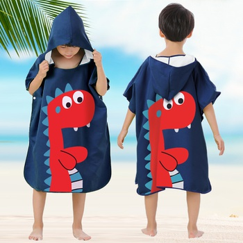 Cartoon Hooded Dinosaur Baby Bathrobe Baby Spa Towel Kids Bath Robe Infant Beach Towels