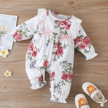 Baby Floral Ruffled Bowknot Jumpsuit