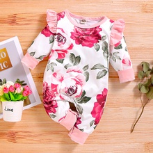 Baby Girl Flower Ruffled Jumpsuit