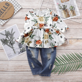Baby / Toddler Beautiful Floral Allover Top and Jeans Set