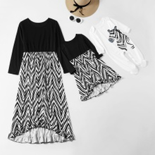 Mosaic Family Matching Mommy and Me Graphic Dresses Sibling Zebra Romper for Mom - Girl - Baby