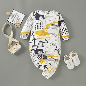 Baby Boy / Girl Car Allover Long-sleeve Jumpsuit