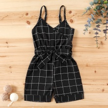 Baby / Toddler Girl Strappy Plaid Casual Onesies
