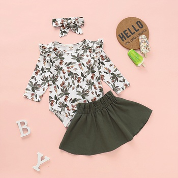 3-piece Baby / Toddler Floral Bodysuit, Solid Skirt and Headband Set
