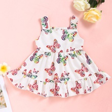 Baby Butterfly Allover Print Strappy Dresses