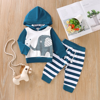 Baby Boy Striped Elephant Hoodie and Pants Set