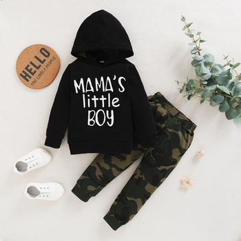 2-piece Baby / Toddler Letter Camouflage Print Hooded Pullover and Pants Set