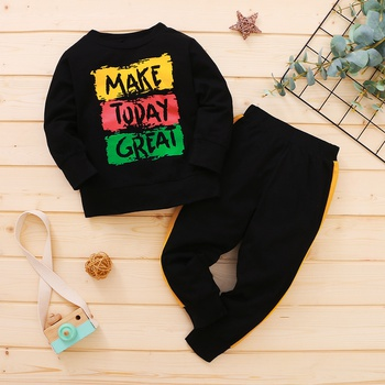 2-piece Baby / Toddler Letter Print Pullover and Pants Set