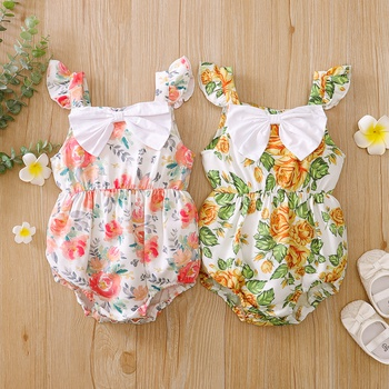 Baby Floral Print Sleeveless Romper