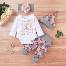 4-piece Baby Girl Floral Print Long-sleeve Bodysuit and Pants with Hat and Headband Set