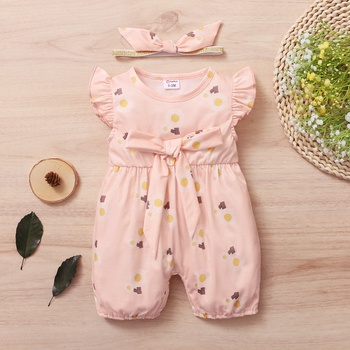 2-Piece Baby Dandelion Print Flutter-sleeve Bowknot Romper and Headband Set