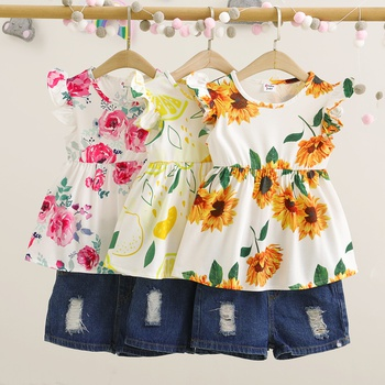Toddler Girl Floral Top and Denim Shorts Set