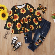 3pcs Toddler Girl Sunflower Top and Jeans Set