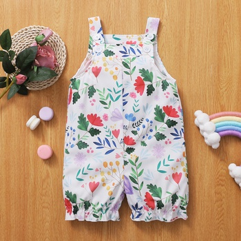 Baby Girl Floral Print Sleeveless Straight Jumpsuit