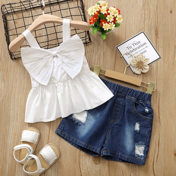 Trendy Toddler Girl Bowknot Tank Top And Shorts Jeans