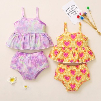 2pcs Baby Girl Sling casual Heart-shaped&Tie dye Baby's Sets