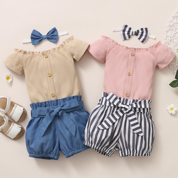 3pcs Baby Girl Short-sleeve Cotton  Sweet Baby's Sets