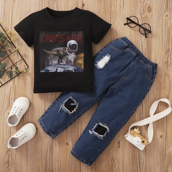 Trendy Toddler Boy Dinosaur Top And Jeans