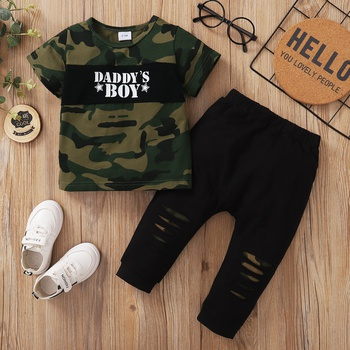 2pcs Baby Girl casual Camouflage&Letter Baby's Sets