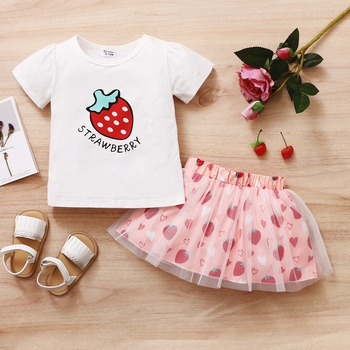 2pcs Baby Girl Short-sleeve Strawberry Print Suit Baby's Sets