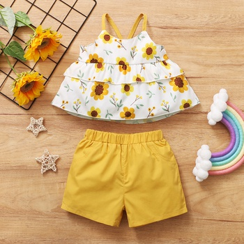 2pcs Baby Girl Sling Cotton  Sweet Daisies Baby's Sets