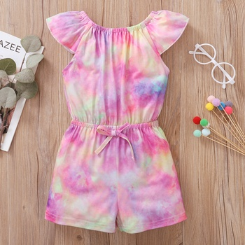 Toddler Girl Bowknot  Tie Dyed  Print Jumpsuits