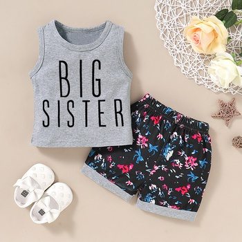 Letter Print Tank and Allover Shorts Set