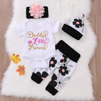 4-piece Letter Print Bodysuit, Floral Print Pants, Hat and Flower Headband for Baby Girl