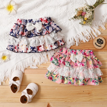 1pc Baby Girl Floral Bowknot Romper Shorts