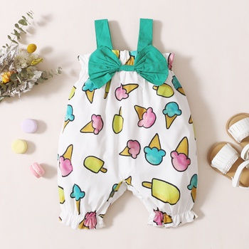 1pc Baby girl Food Print Polyester Summer More Festivals Pants Overalls