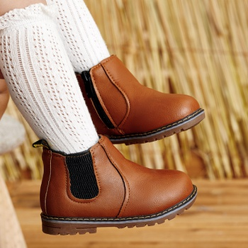 Toddler Boy / Girl Stylish Zipper and Mesh Design Solid Fleece-lining Boots