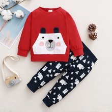 2pcs Baby Unisex Sweet Floral & Polar bear Long-sleeve Cotton  Baby's Sets
