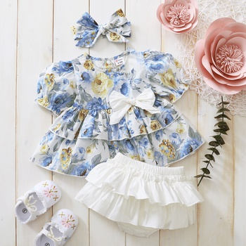 3pcs Baby Girl Sweet Floral Short-sleeve Solid Shorts Baby's Sets