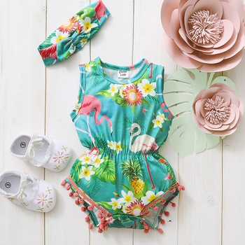 2-Piece Baby Flamingo Print Sleeveless Tassel Romper and Headband Set