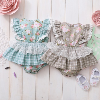 Baby Floral and Plaid Print Lace Flutter-sleeve Dress Romper