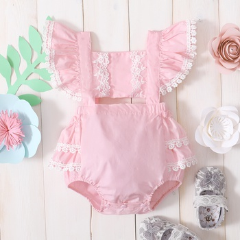 Baby Flutter-sleeve Lace Rompers & Bodysuits