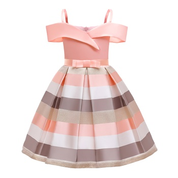 Fashionable Striped Drawstring Strappy Party Dresses