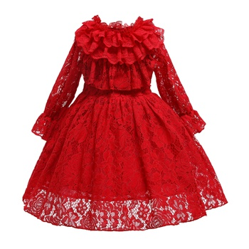 Toddler Lace Red Flounce Long-sleeve Party Dress