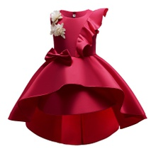 Trendy Flower Decor Ruffled Bowknot Sleeveless Party Dress