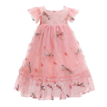 Toddler Girl Dragonfly Print Lace Party Dress
