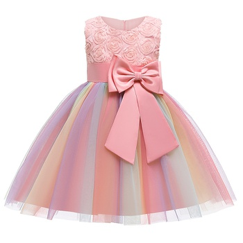 Baby / Toddler Girl Floral Bowknot Grenadine Colorful Ruffled Sleeveless Party Dress